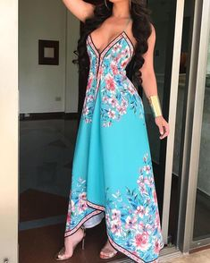 3a230b194ff Floral Print Halter Backless Irregular Maxi Dress (S M L XL)
