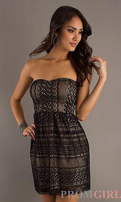 Short Strapless Black Lace Dress at PromGirl.com