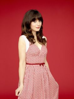 Retro red and white looks so great on Zooey - new promo pic for New Girl