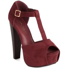 Burgundy Faux Suede T-Strap Platform Heels (34 AUD) ❤ liked on Polyvore featuring shoes, pumps, india heels, burgundy, high heeled footwear, hidden platform pumps, platform shoes, peep toe pumps and high heel pumps
