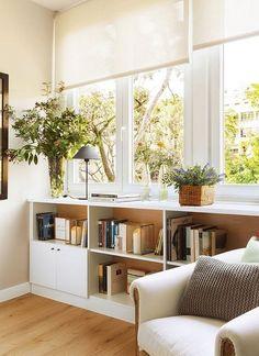 Biblioteca en el salón #cocinaspequeñasdepartamento