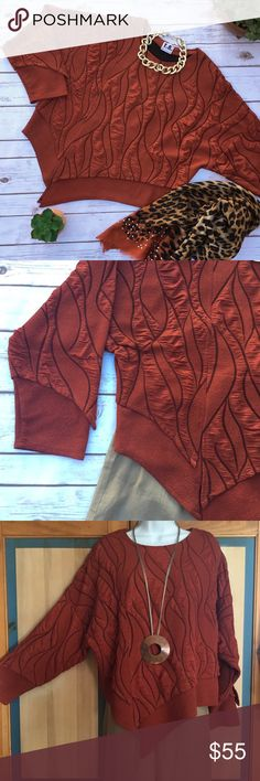 """Asymmetrical Tunic Top - European Lagenlook Style Wonderful brick or rust colored long sleeve top, Uses a different fabric at the bottom and the sleeves for with a """"layered"""" effect. There is a light discoloration which looks like a shadow due to the fabric structure on the front (see last picture). Not very noticeable and a chunky necklace would definitely cover it up. Measures 25 inches from armpit to armpit and 21 to 28 inches in length. Material and size tags  were removed. Ya No Tops"""