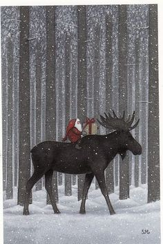 Christmas Moose by Swedish illustrator, Eva Melhuish Merry Christmas, Christmas Moose, Swedish Christmas, Scandinavian Christmas, Vintage Christmas Cards, Christmas Pictures, Winter Christmas, Christmas Holidays, Canadian Christmas