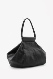 COS image 3 of Folded leather shopper  in Black