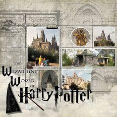 Trendy travel scrapbook pages ideas harry potter Travel Scrapbook Pages, Vacation Scrapbook, Scrapbook Page Layouts, Air France, Harry Potter Scrapbook, Bridal Shower Scrapbook, Gif Disney, Harry Potter Universal, Universal Studios