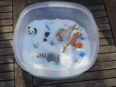 Winter sensory tub during the summer!