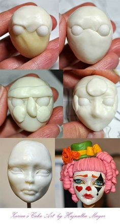 ~ FONDANT FUN ~Fondant/Gumpaste/Modeling chocolate Clown face step by step designface process - this technique can be used for clay .even tho' chocolate fondant was used in this example of cake art MehrBy Zoricha The base is modeling chocolate, the e Polymer Clay Kunst, Polymer Clay Dolls, Polymer Clay Projects, Polymer Clay Creations, Clay Faces, Doll Tutorial, Fondant Tutorial, Fondant Bow, Marshmallow Fondant