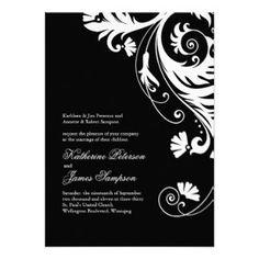 Elegant Black and White Wedding Invitation Set
