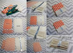 "Step 1. – Get your supplies together!  I used Orange Chevron ""Outdoor"" Fabric, a White Twill & some silver stripping for the purse… plus I p..."