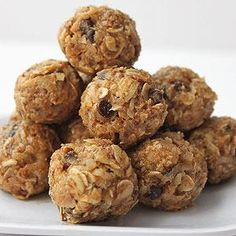 Healthy Snack: No Bake Energy Bites: Combine 1 cup rolled oats, 1/2 cup PB2, 1/3 cup honey, 1 cup sweetened coconut flakes, 1/2 cup ground flaxseed, 1/2 cup raisins chips, and 1 tsp vanilla in a mixing bowl. Chill 30 min, then roll into balls. Store in an airtight container in the fridge up to a week.