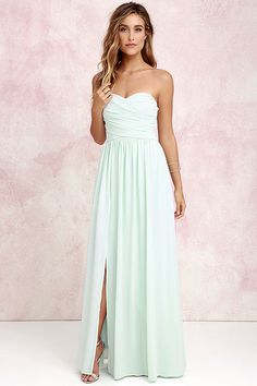 LOVE this style of dress for bridesmaids.  Moonlight Serenade Mint Strapless Maxi Dress at Lulus.com!