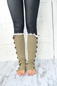 Button Down Leg Warmers Boot Socks Lacy Knitted LegWarmers with Crochet Lace Trim. $48.00, via Etsy.