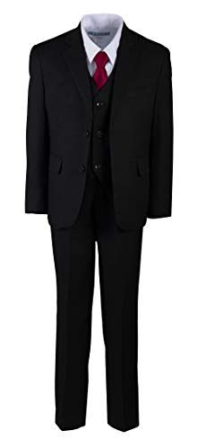 Tuxgear Boys Black 2 Button Suit Regular Fit 5 Piece with Colored Necktie Boys Black Suit, Black Suits, Formal Suits, Boys Suits, Baby Boys, Suit Jacket, Blazer, Amazon, Fitness