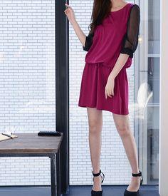 洋裝透膚黑七分袖抽繩腰身紫紅洋裝sweetlove - Yahoo!奇摩購物中心
