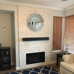Custom fireplace mantel with drop front shelf, media storage, hidden storage for media components. Fireplace mantels with component storage. Black Fireplace Mantels, Distressed Fireplace, Wood Mantels, Fireplace Ideas, Tv Built In, Built Ins, Wood Brackets, Fireplace Remodel, Wood Beams