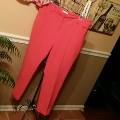 New York & Company size 14 Stretch ankle pants Coral colored ankle pants by New York & Company size 14 Stretch.  In very great condition.  64% polyester, 32% rayon and 4% spandex.  Zipper at bottom of each pant's leg. New York & Company Pants Ankle & Cropped