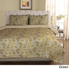 Cover your bed with the attractive Moroccan quilt set. Colorful and detailed paisley designs will bring a fashionable touch to any bedroom. Made from 100-percent cotton, this unique set is available in a green or grey finish.
