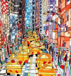 New York City 5th and 55th Giclee Print  Artist Proof. $75.00, via Etsy.