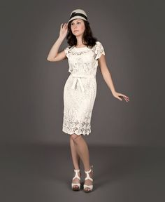 White exclusive crochet dress in retro style by LecrochetArt