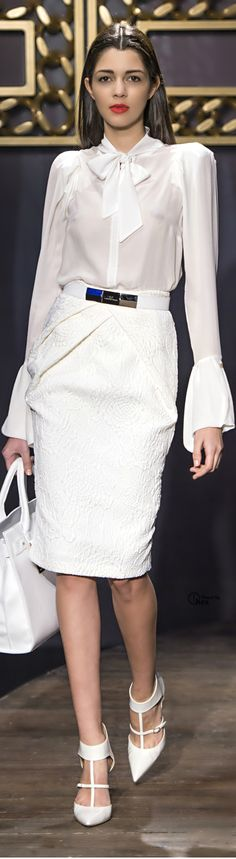 Elisabetta Franchi. For the office don't wear together, too much white. corporate fashion. CORMONY.