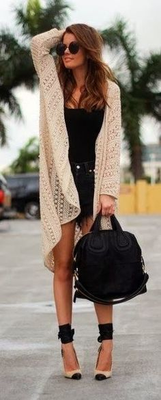 See more Perfect oversize cardigan with jeans shorts and heels bag black shoes sunglasses summer clothing women style apparel fashion outfit...