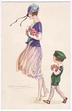 Post-Card-Art-Deco-Woman-With-Boy-Bompard-Art