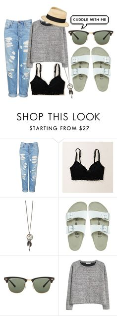 """Lazy Day Outfit"" by beyourself-kesc ❤ liked on Polyvore featuring Topshop, Aerie, Birkenstock, Ray-Ban, MANGO and Eugenia Kim"