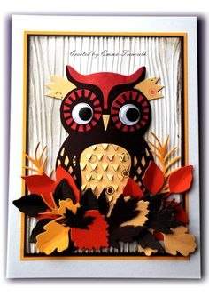 Autumnal owl, xcut build an owl die, spellbinders and memory box foliage dies, stampin up woodgrain embossing folder.