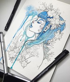 """Blue Rain""  Loving this Opus brand watercolor #sketchbook  I'll make some prints of her and ""Secret Garden"" this weekend if I can find some good paper ✨ #graphicartery #watercolor #artshare #artwork #myart #sketch #draw #artsy #arte #art  #instaart #artnerd2016 #artist #illustration #tattoos #artistsoninstagram #artcollective #spotlightonartists #instartspics #watercolour"
