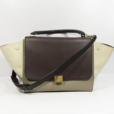 Celine Tricolor Trapeze Gorgeous bag, perfect size. Colors are off white, gray and oxblood. Wings are smooth cowhide leather not suede. Gold tone hardware. Shows some minor signs of wear, very light scratch in the back pls see 3rd pic. Comes with booklet and dustbag. 100% authentic! Celine Bags Satchels