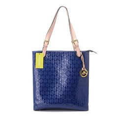 Michael Kors Monogram Mirror Metallic Large Blue Totes