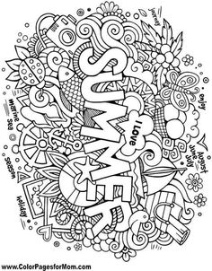 Summer coloring pages - Doodle Coloring Page Color Pages for Mom coloring books pages doodles summer seasons Preschool Coloring Pages, Cool Coloring Pages, Mandala Coloring Pages, Printable Coloring Pages, Adult Coloring Pages, Coloring Pages For Kids, Coloring Books, Doodle Art, Pages Doodle