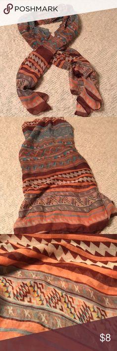 "New Tribal Scarf Never worn! Fun, flirty tribal print lightweight oversized scarf!!! 72"" x 38"" Accessories Scarves & Wraps"