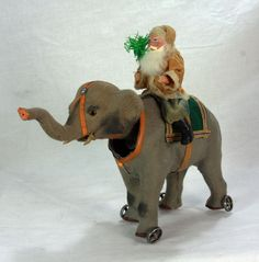 Antique German Paper Mache Santa On Nodder Elephant c1910