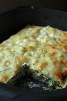 Lasagnes brocoli, ricotta & olives noires