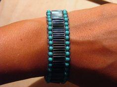 black tube beads crochet bracelet.