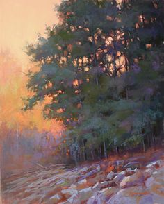 """Sunset Glow at Red Top Mountain by Barbara Jaenicke Pastel ~ 20"""" x 16"""""""