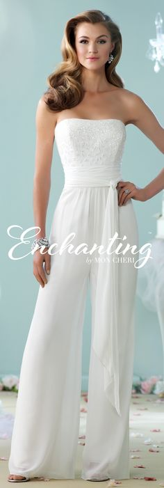 This strapless chiffon jumpsuit features a semi-sweetheart hand-beaded bodice, wrap around multi-layer chiffon belt at natural waist and wide leg pants. Wedding Pants, Wedding Jumpsuit, Wedding Dress Chiffon, Chiffon Dresses, Ball Dresses, Ball Gowns, Evening Dresses, Prom Dresses, Wedding Dresses