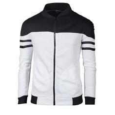 Jacheta din amestec de bumbac si poliester pentru barbati, model modern in culori contrastante si dungi