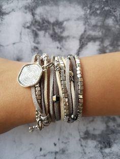 Silver Ethnic Leather Wrap Bracelet, Boho Long Leather Beaded Bracelet, Women's Layered Bracelet – necklace, Bridesmaid personalized-jewelry Boho Necklace, Boho Jewelry, Silver Jewelry, Jewelry Accessories, Handmade Jewelry, Women Jewelry, Jewelry Design, Silver Ring, Vintage Jewellery