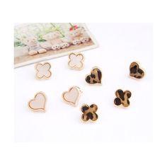 Pink Sweet Clover Earrings 09081939-168 via Polyvore