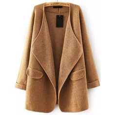 Khaki Lapel Long Sleeve Loose Sweater Coat (€37) ❤ liked on Polyvore featuring outerwear, coats, jackets, lapel coat, khaki coats, short sleeve coat, long sleeve coat and brown coat