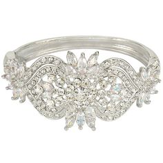EVER FAITH® Silver-Tone Austrian Crystal Zircon Art Deco 1920s Style Bangle Bracelet Clear -- Review more details here : Fashion Jewelry