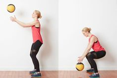 Try This Low Impact Cardio Challenge with a Med Ball and Kettlebell: Squat with Med Ball Toss