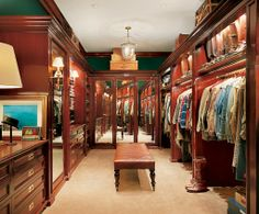 Ralph Lauren's country estate Bedford, NY. Master closet