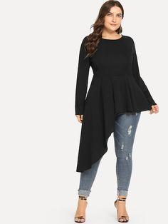 3738a2ab74 Shop Plus Asymmetrical Hem Solid Blouse online. SheIn offers Plus  Asymmetrical Hem Solid Blouse &