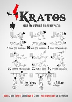 Kratos (God of War) Workout - Fitness Workouts, Hero Workouts, Gym Workout Tips, Workout Challenge, No Equipment Workout, At Home Workouts, 300 Workout, Workout Plans, Neila Rey Workout