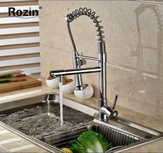 46.61$  Watch here - http://alih7a.shopchina.info/go.php?t=32479852073 - Luxury Dual Swivel Spout Spring Kitchen Sink Faucet Single Handle Double Sprayer Nozzle Kitchen Mixer Taps  #buychinaproducts