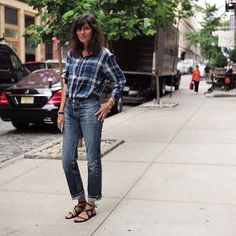 Emmanuelle Alt - rare sight, in colour and checks :)