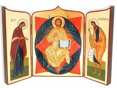 Deeses (Christ Enthroned ), Hand Enhanced Serigraph Icon Triptych - at Holy Trinity Store The Transfiguration, Trust Fund, Byzantine Art, John The Baptist, Altars, Mother And Child, Religious Art, Store Design, Christianity